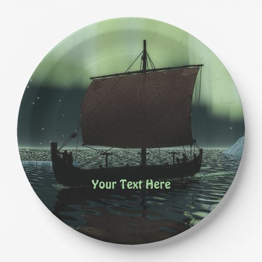 Viking Ship And Northern Lights 9 Inch Paper Plate