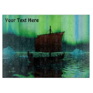 Viking Ship And Northern Lights Boards