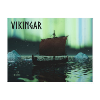 Viking Ship And Northern Lights Canvas Print
