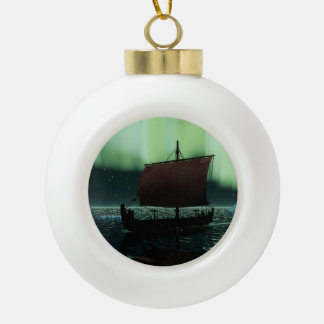 Viking Ship And Northern Lights Ceramic Ball Christmas Ornament