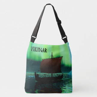 Viking Ship And Northern Lights Crossbody Bag
