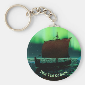 Viking Ship And Northern Lights Keychain