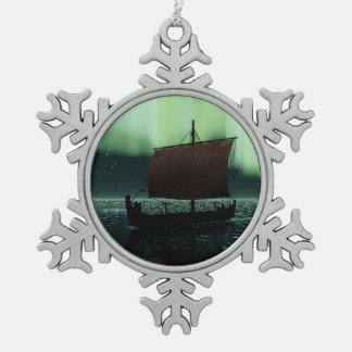 Viking Ship And Northern Lights Pewter Snowflake Ornament