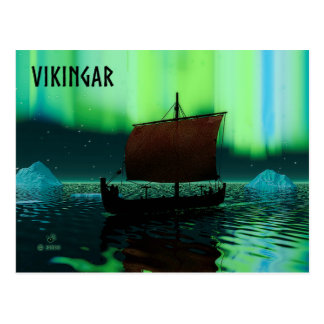 Viking Ship And Northern Lights Postcard