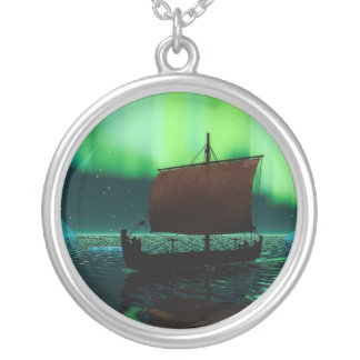 Viking Ship And Northern Lights Silver Plated Necklace