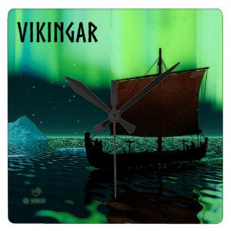 Viking Ship And Northern Lights Wall Clock