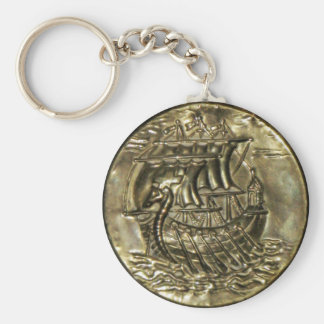 Viking Ship Basic Round Button Keychain