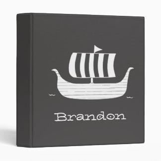 Viking ship/longboat w/custom background color 3 ring binder