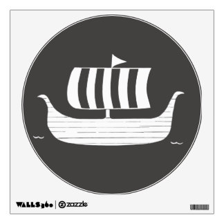 Viking ship longboat with custom background color wall decal