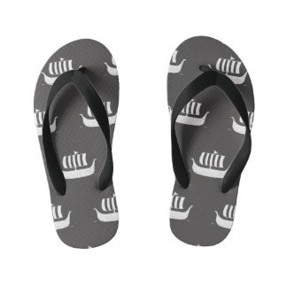Viking ship longboats w/custom background color kid's flip flops