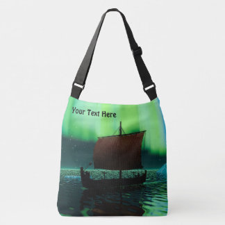 Viking Ship Under Northern Lights Crossbody Bag