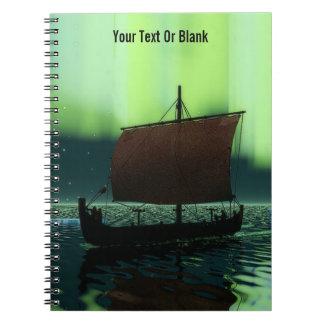 Viking Ship Under Northern Lights Notebook