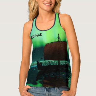 Viking Ship Under Northern Lights Tank Top