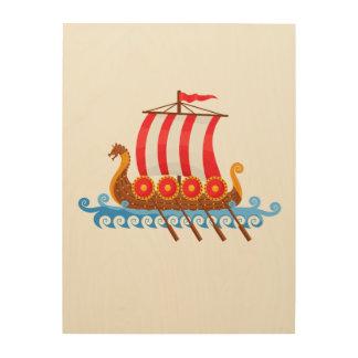 Viking Ship Wood Print