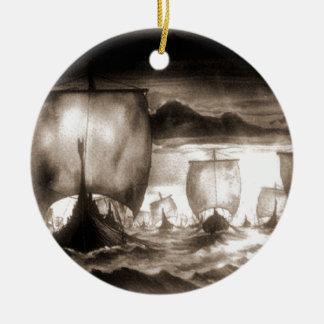 VIKING SHIPS CERAMIC ORNAMENT