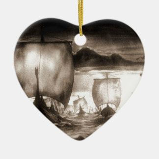 VIKING SHIPS CERAMIC ORNAMENT