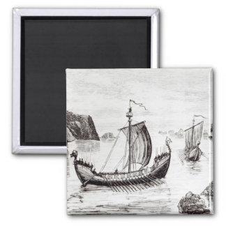 Viking Ships Square Magnet