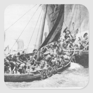 Viking Ships Square Sticker