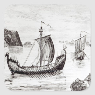 Viking Ships Square Sticker