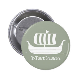 Viking ships with custom background color 2 inch round button