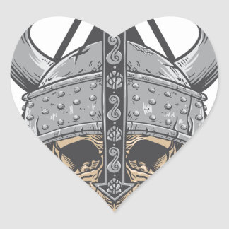 Viking Skull Heart Sticker