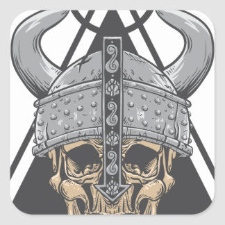 Viking Skull Square Sticker