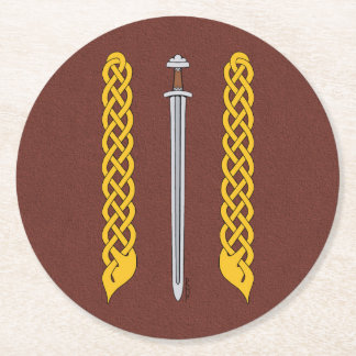 Viking Sword and Plaitwork Round Paper Coaster