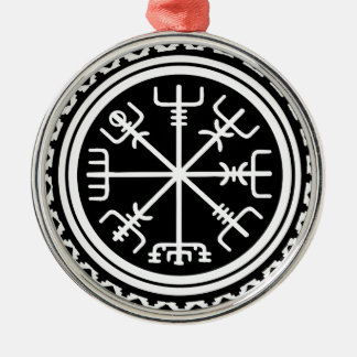Viking Vegvisir Compass Silver-Colored Round Ornament