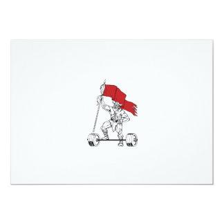 Viking Warrior Barbell Waving Flag Retro Card