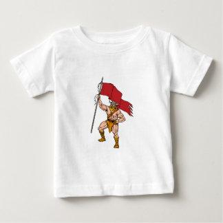 Viking Warrior Brandishing Red Flag Retro Baby T-Shirt