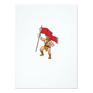 Viking Warrior Brandishing Red Flag Retro Card
