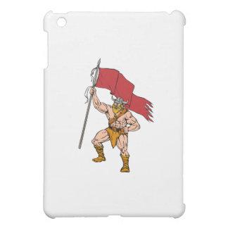 Viking Warrior Brandishing Red Flag Retro Case For The iPad Mini