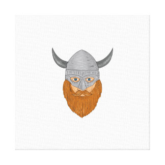 Viking Warrior Head Drawing Canvas Print