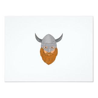 Viking Warrior Head Drawing Card
