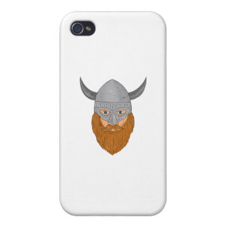 Viking Warrior Head Drawing iPhone 4/4S Cover