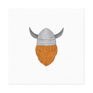 Viking Warrior Head Rear View Drawing Canvas Print