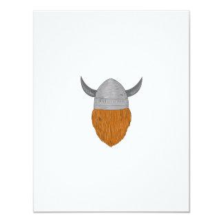 Viking Warrior Head Rear View Drawing Card