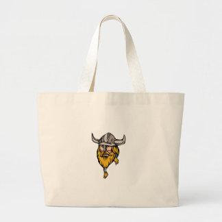 Viking Warrior Head Retro Large Tote Bag