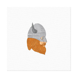 Viking Warrior Head Right Side View Drawing Canvas Print