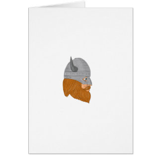 Viking Warrior Head Right Side View Drawing Card