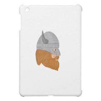 Viking Warrior Head Right Side View Drawing iPad Mini Case