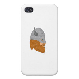Viking Warrior Head Right Side View Drawing iPhone 4 Case