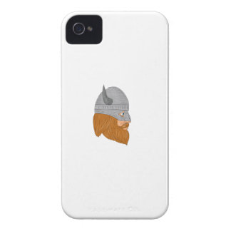Viking Warrior Head Right Side View Drawing iPhone 4 Case-Mate Case