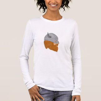 Viking Warrior Head Right Side View Drawing Long Sleeve T-Shirt