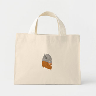 Viking Warrior Head Right Side View Drawing Mini Tote Bag