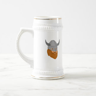 Viking Warrior Head Three Quarter View Drawing Beer Stein