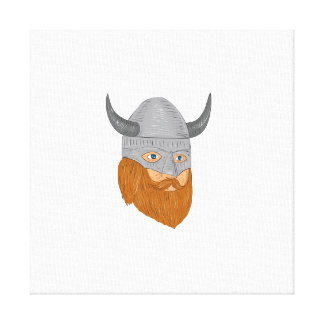 Viking Warrior Head Three Quarter View Drawing Canvas Print
