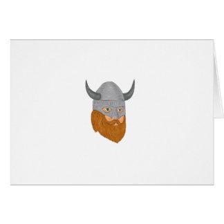 Viking Warrior Head Three Quarter View Drawing Card