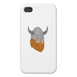 Viking Warrior Head Three Quarter View Drawing Cases For iPhone 4