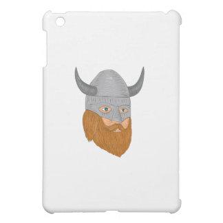 Viking Warrior Head Three Quarter View Drawing iPad Mini Cases